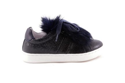 Sneaker Blauw Metallic Pels Blauw