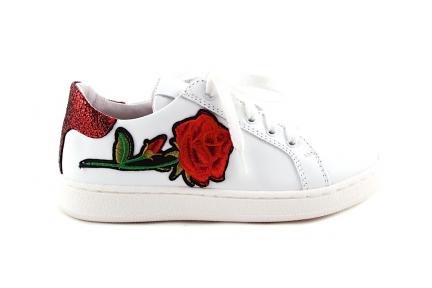 sneaker in wit leder met Rode Roos