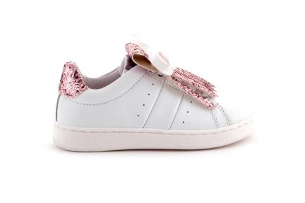 Bikey sneaker wit roze glitter met frulles