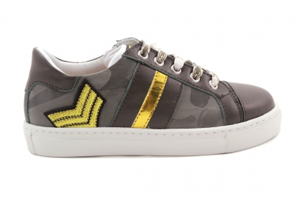 Sneaker Kaki Goud Accent