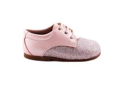 Veterschoen Roze Glitter Vooraan Roze Leder Achteraan