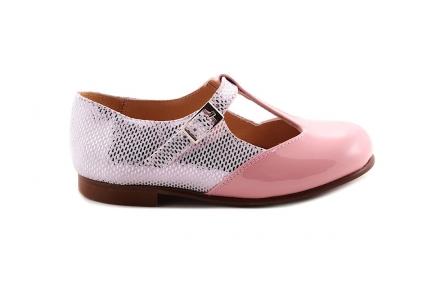 Schoen Gesp T-model Roze leer vooraan en wit-roze details achter