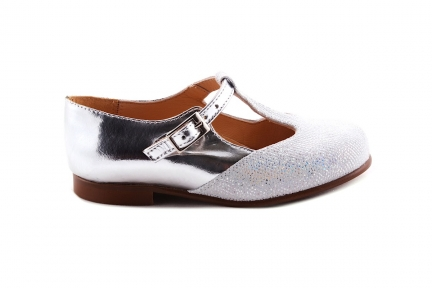 Schoen Gesp T-model Zilver Stipjes en Metallic achter
