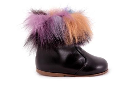 Laars Klein Zwart Leder met Multicolor Haartjes