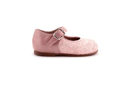 Schoen gesp roze glitter vooraan en lak