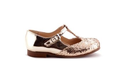Schoen gesp T-model gouden glitter en spiegel
