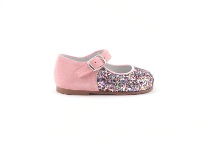schoen gesp multiglitter met roze daim