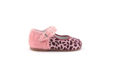 schoen gesp print roze met haartjes
