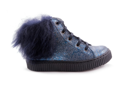 Sneaker Blauw Pels Blauw Glitter