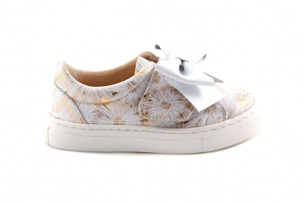 Sneaker Velcro Gouden Bloemen met Witte Strik