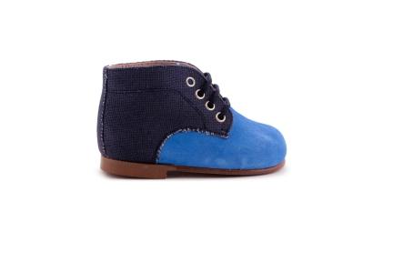 Veterschoen blauw daim en donkerblauw linnen