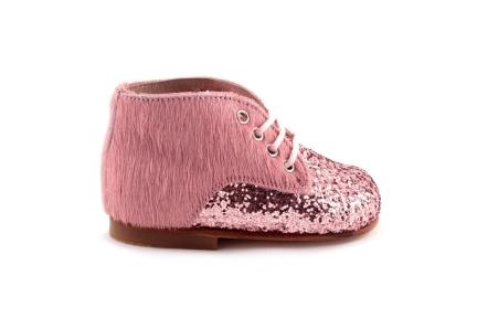 Veterschoen Roze Haartjes Glitter Vooraan