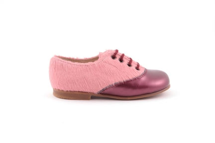 veterschoen bordeaux roze haartjes
