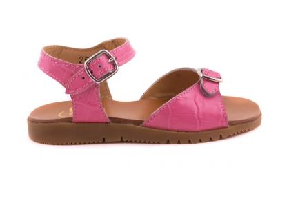 Sandaal 2 Gespen Roze Croco