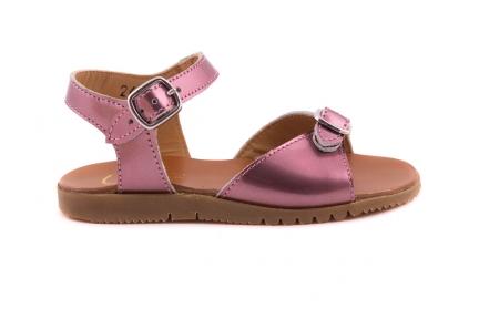 Sandaal 2 Gespen Donkerroze Metallic