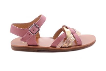 Sandaal Multibandjes Vooraan Roze En Goud