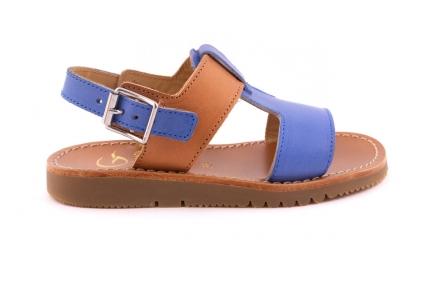Sandaal T-model Blauw En Cognac