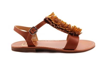 Sandaal Multi Fringes Cognac Leder