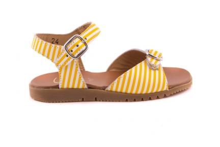 Sandaal 2 Gespen Gele Streepjes