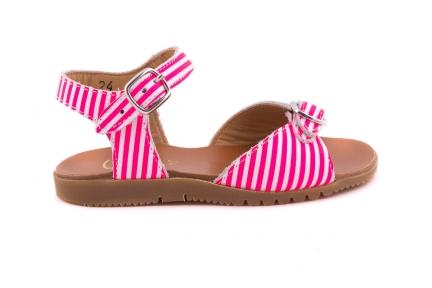 Sandaal 2 Gespen Roze Streepjes