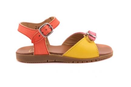 Sandaal 2 Gespen Geel/roze En Oranje Achteraan