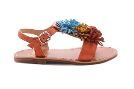 Sandaal Multi Fringes Groot Bruin Leder