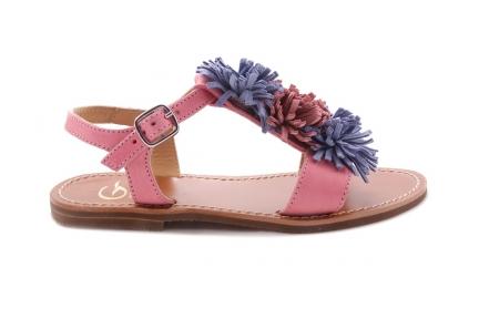 Sandaal Multi Fringes Groot Roze Leder