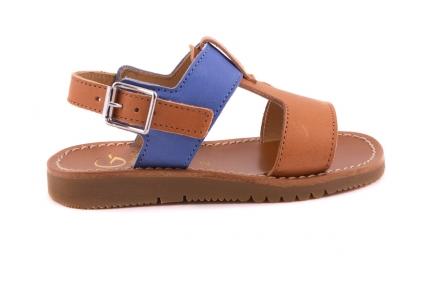 Sandaal T-model Cognac En Blauw
