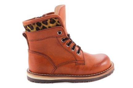 Laars Cognac Veterlaars Leopard Oker