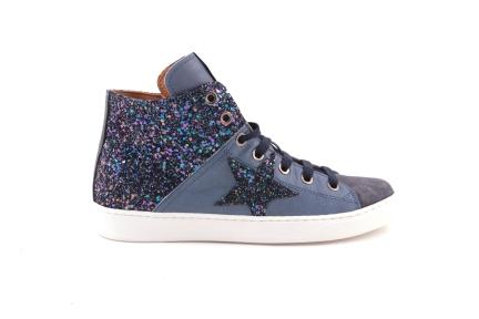 sneaker glitter met ster blauw