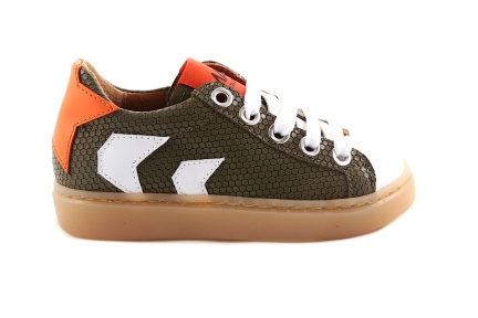 Sneaker Graatjesmotief Laag Kaki En Oranje