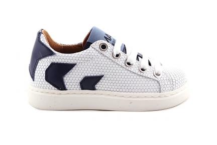 Sneaker Graatjesmotief Laag Wit En Blauw