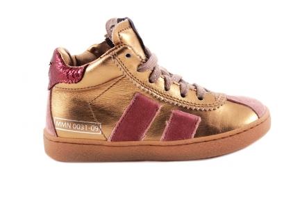 Sneaker Gouden Metallic Halfhoog Roze Details