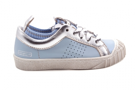 Sneaker Blauw Met Zilver Veter