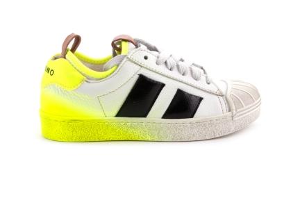Sneaker Zwart Met Geel Verf Rubber Tip