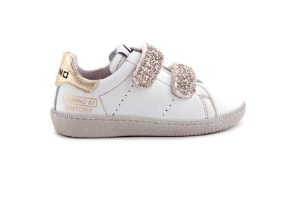 Sneaker Wit Met Glitter Velcro