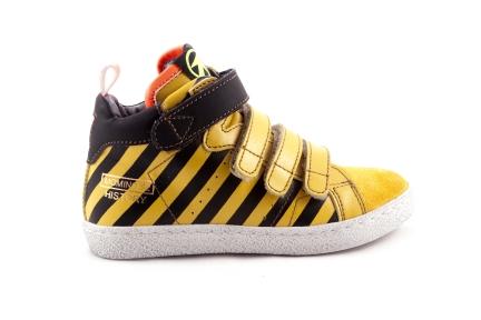 Sneaker Hoog 3 Velcro Oker met Zwarte Strepen