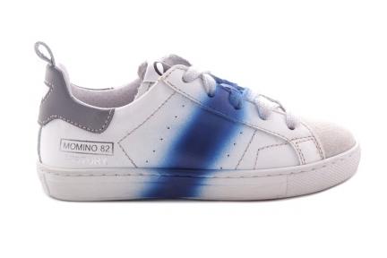 Sneaker Veter Wit Blauwe Streep Verf