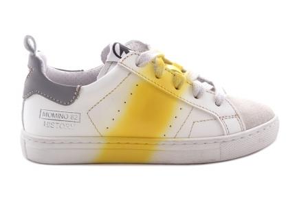 Sneaker Veter Wit Gele Streep Verf
