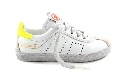 Sneaker Veter En Rits Wit Met 2 Gele Strepen