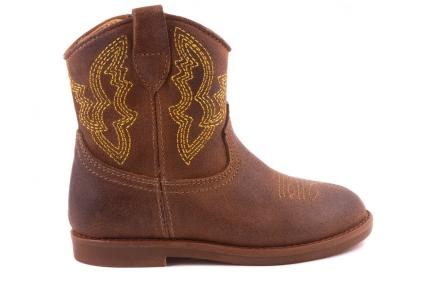 Laars Cowboy Bruin Nubuck/goud Stiksel