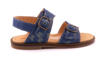Sandaal Blauw Met Gele Vespa 2 Gespen