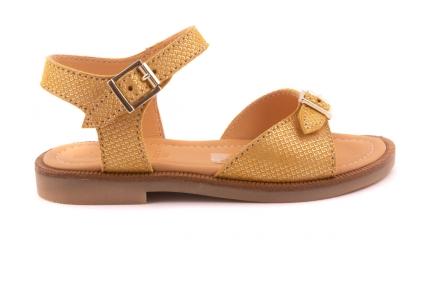 Sandaal 2 Gespen Goudgeel Motief