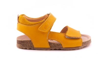 sandaal velcro kurkzool okergeel