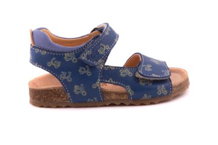 Sandaal Blauw Met Gele Vespa Kurkzool