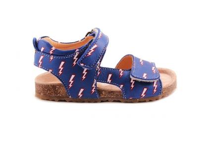 Sandaal Blauw Met Bliksem Kurkzool