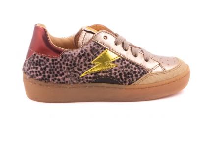 Sneaker Bliksem  Roze Cheetah/geel Bliksem