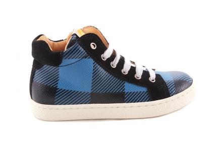 Sneaker Blauw Met Zwarte Carreau Veter