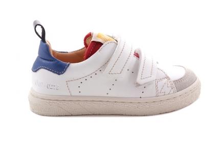 Sneaker Laag Velcro Wit En Rood/blauw