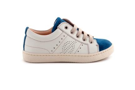 Sneaker Laag Veter Met Rits Wit / Blauw